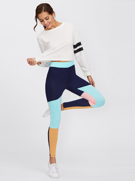 Cut And Sew Color Block Leggings - Luma Lyfe