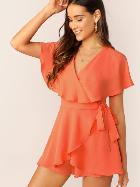 Surplice Neck Wrap Knotted Romper - Luma Lyfe
