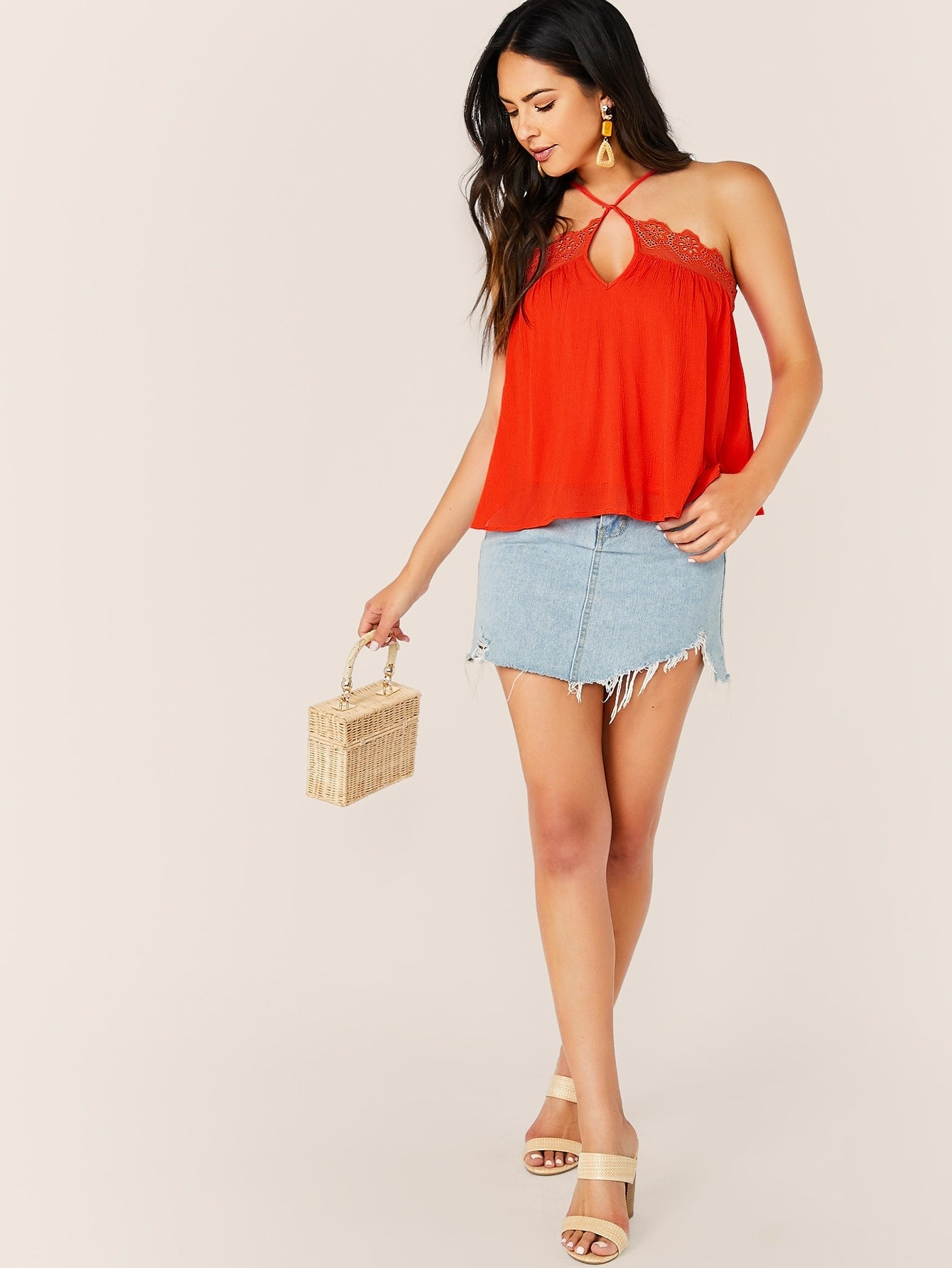 Embroidered Eyelet Trim Cami Tank Top