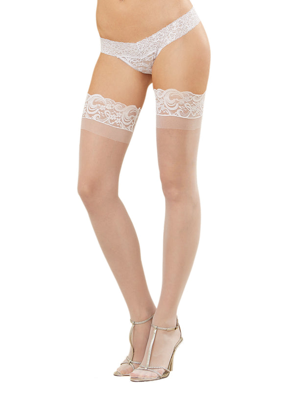 Dreamgirl One Size Pink Sheer Thigh High Stockings with Silicone Lace Top