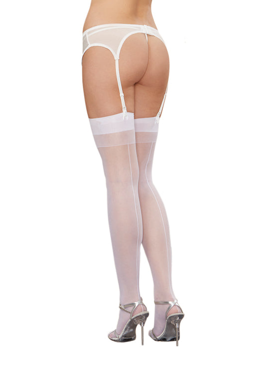 Dreamgirl One Size Nude Sheer Thigh High Stockings with Plain Top and Back Seam