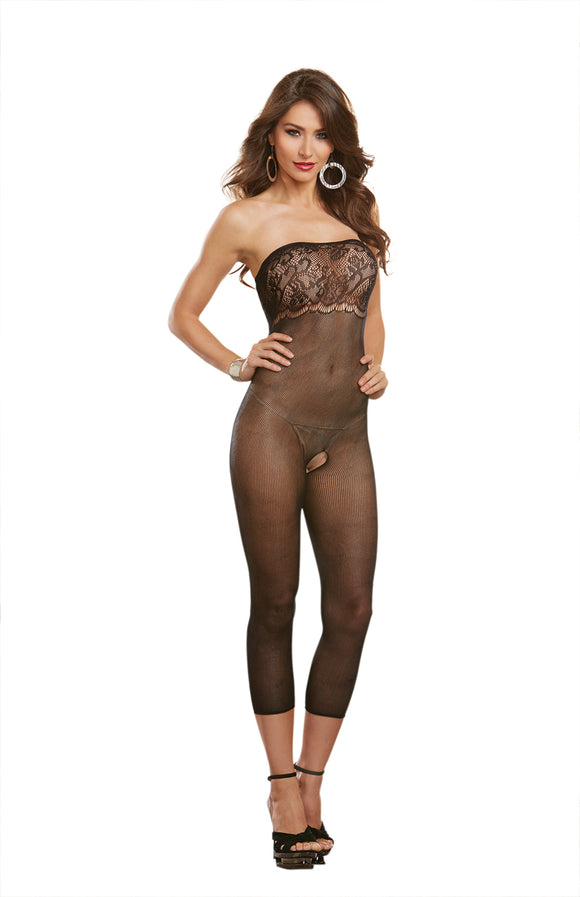 Dreamgirl One Size Black Multi-Way 2-In1 Sheer Bodystocking