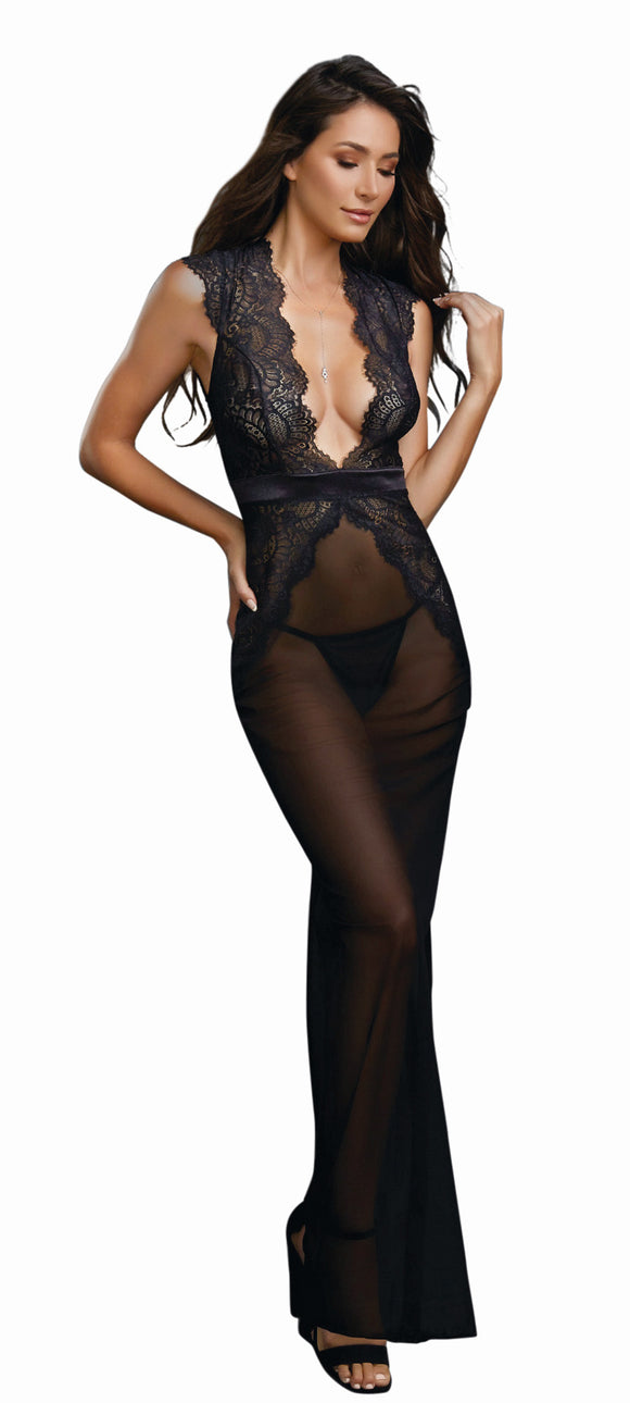 Dreamgirl Black Sheer Mesh and Scalloped Lace Full Length Gown 11460