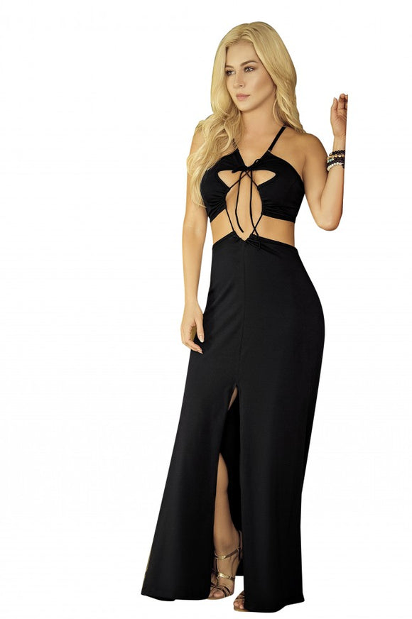 Black Maxi Beach Dress With Cut Out Detail 4600