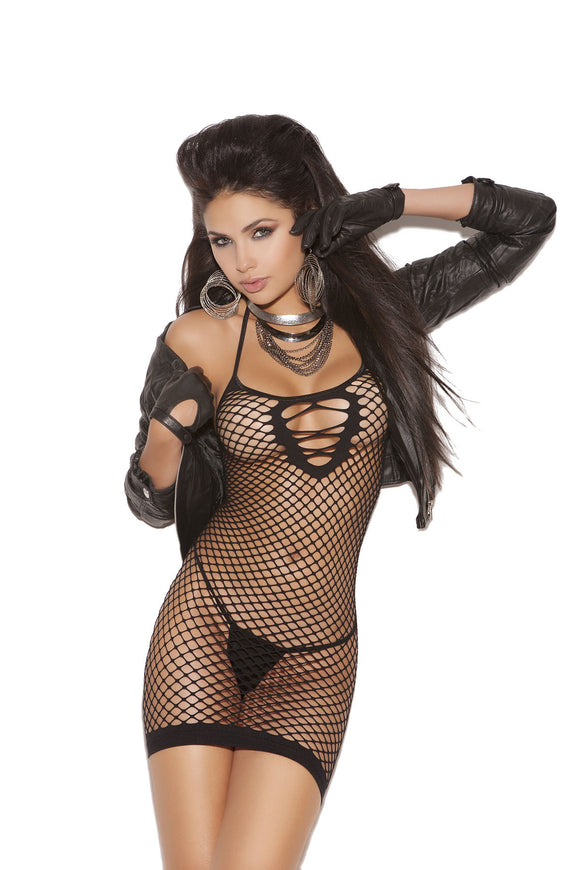 Fishnet Mini Dress - Black