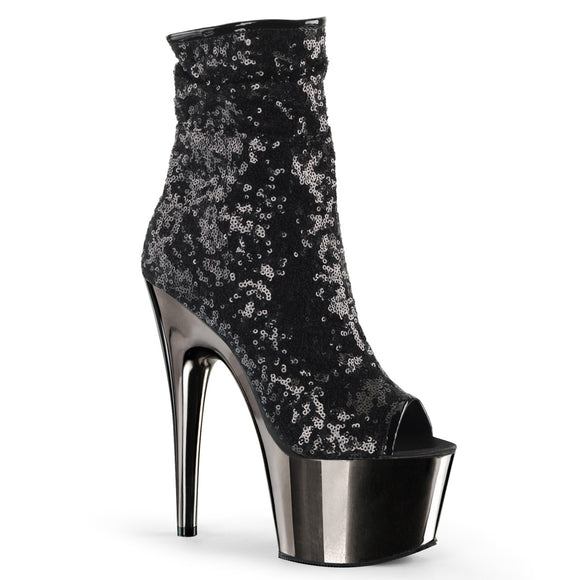 Pleaser ADORE-1008SQ Black Sequins/Dark Pewter Chrome, 7 Inch Heel, 2 3/4 Inch platform Peep Toe Sequins Ankle Boot, Side Zip