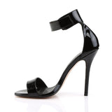 AMUSE-10 Black Patent Pleaser Shoes With A 5 Inch Heel, Closed Back Sandal with  Buckled Ankle Strap