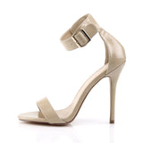 AMUSE-10 Cream Patent Pleaser Shoes With A 5 Inch Heel, Closed Back Sandal with  Buckled Ankle Strap