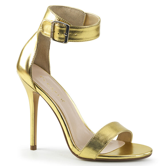 AMUSE-10 Gold Mat. Pu Pleaser Shoes With A *5 Inch Heel, Closed Back Sandal with Buckled Ankle Strap
