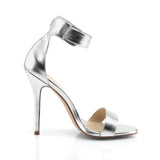 AMUSE-10 Silver Met. Pu Pleaser Shoes With A *5 Inch Heel, Closed Back Sandal with Buckled Ankle Strap
