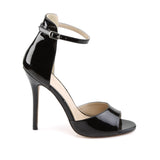 AMUSE-14 Black Patent Pleaser Shoes With A 5 Inch Heel, Closed Back Ankle Strap Sandal