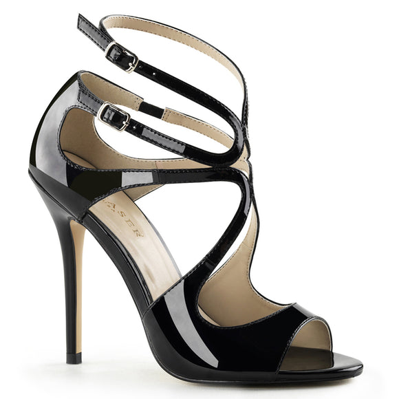 AMUSE-15 Black Patent Pleaser Shoes With A 5 Inch Heel, Strappy Sandal with  Cutout Detail