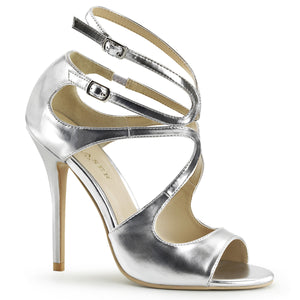 AMUSE-15 Silver Met Pu Pleaser Shoes With A *5 Inch Heel, Strappy Sandal with  Cutout Detail