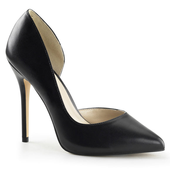 AMUSE-22 Black Faux Leather Pleaser Shoes With A 5 Inch Heel, 3/8 Inch Hidden Platform D'Orsay Pump