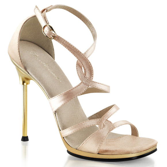 CHIC-46 Nude Satin/Gold Matte Fabulicious Shoes With A *4 1/2 Inch Heel, 1/4 Inch Platform Closed Back Sandal