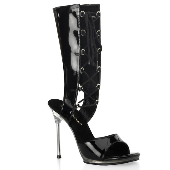 CHIC-65 Black Patent/Clear Fabulicious Shoes With A *4 1/2 Inch Heel, 1/4 Inch Platform Mid-Calf Lace Up Bootie Sandal