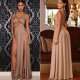 Sexy Dress Women Maxi Dress Cut Out Double Split. - Pole dancing shoes, Stripper shoes, stripper heels, pole shoes uk, Lingerie, Sexy dress, stripper clothes, Pleaser, Heels