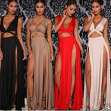 Sexy Dress Women Maxi Dress Cut Out Double Split.