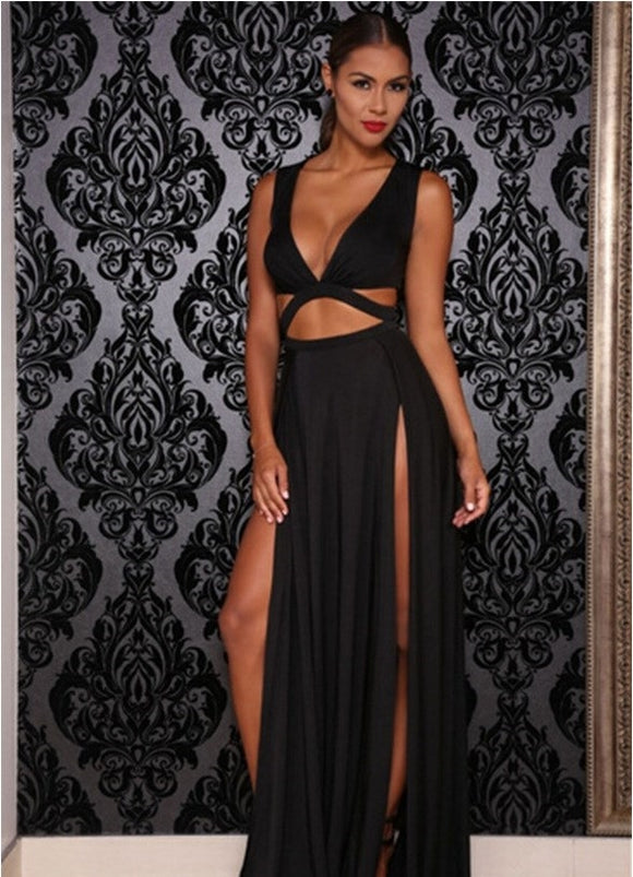 Sexy Dress Women Maxi Dress Cut Out Double Split - Pole dancing shoes, Stripper shoes, stripper heels, pole shoes uk, Lingerie, Sexy dress, stripper clothes, Pleaser, Heels