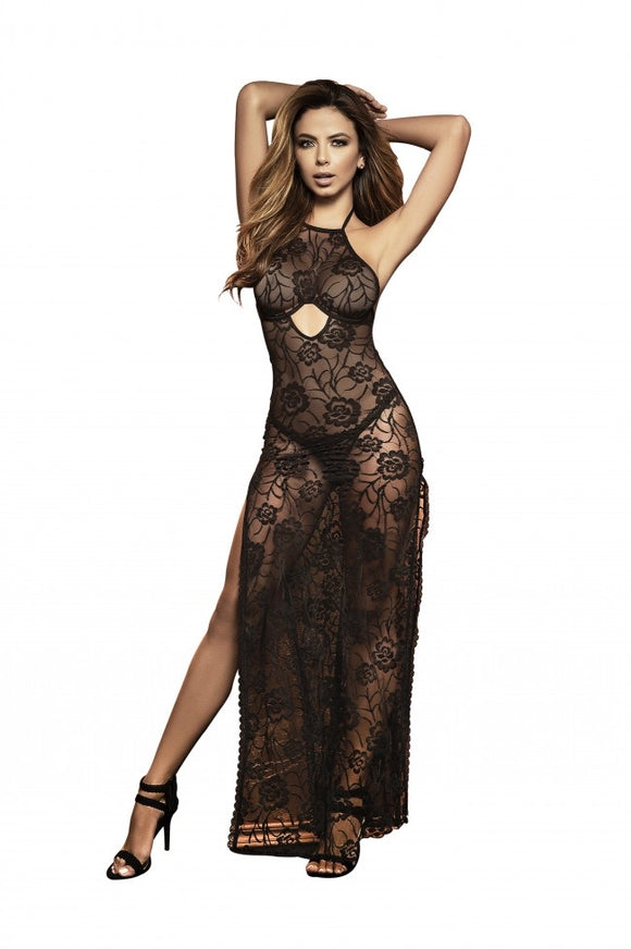 Mapale Black Long Nightgown with Matching G-String 7254