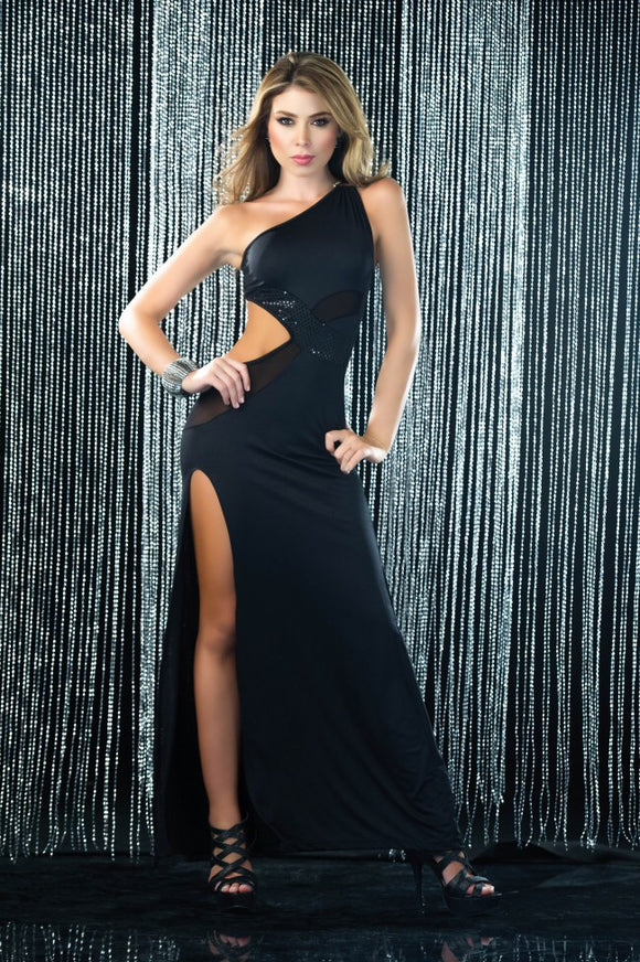 Cut Out Black Long Dress 4231 - Pole dancing shoes, Stripper shoes, stripper heels, pole shoes uk, Lingerie, Sexy dress, stripper clothes, Pleaser, Heels
