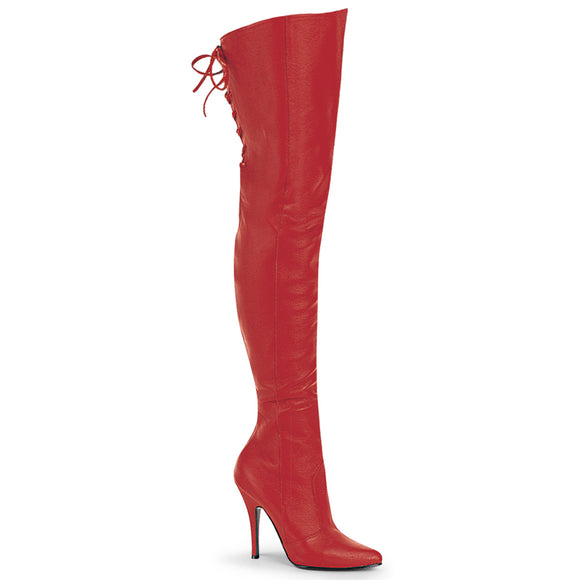 LEGEND-8899 Red Leather (P) Pleaser Shoes With A 5 Inch Thigh BT withLacing Detail At the Rear