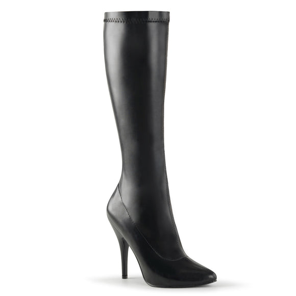 Pleaser SEDUCE-2000 Black Str Faux Leather, 5 Inch Plain Stretch Knee Boot, Side Zip