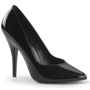 SEDUCE-420V Black Patent Pleaser Shoes With A 5 Inch Kitten Heel Classic Pointed Toe Pump
