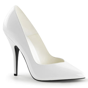 SEDUCE-420V White Patent Pleaser Shoes With A 5 Inch Kitten Heel Classic Pointed Toe Pump