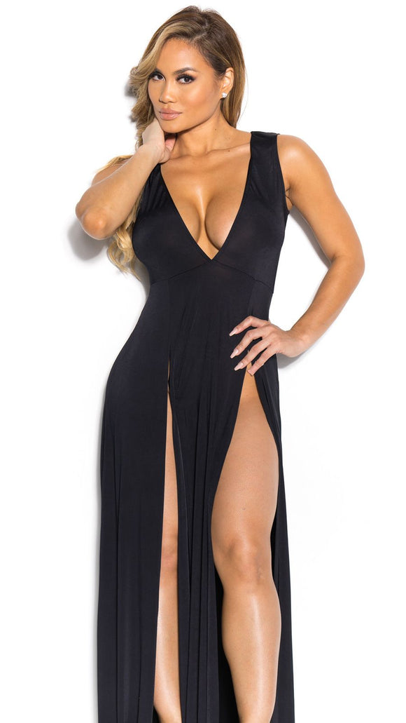 Dancingheels Long Dress Sleeveless Plunging Neck Split