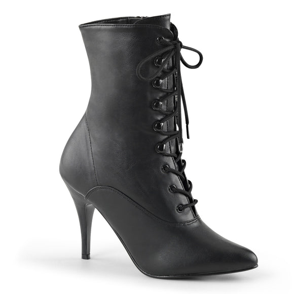 Pleaser VANITY-1020 Black Faux Leather, 4 Inch Lace-Up Ankle Boot, Side Zip