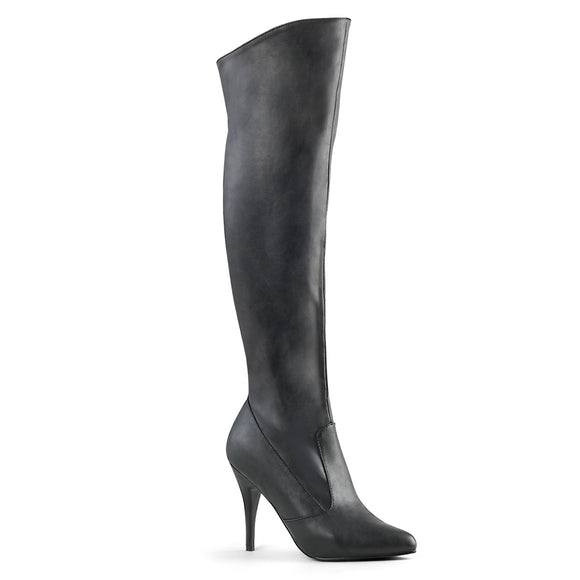 Pleaser VANITY-2013 Black Faux Leather, 4 Inch Heel, Pull-On Knee Boot, 1/2 Inside Zip