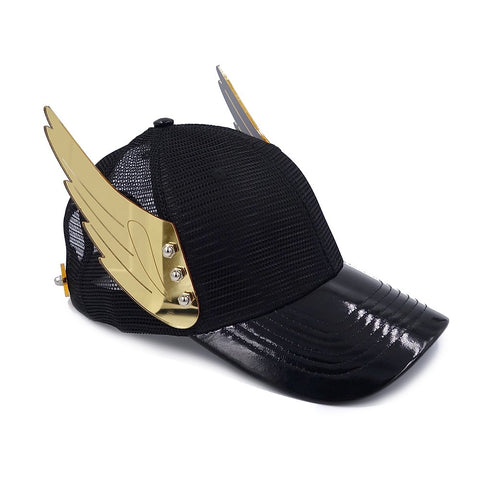 Gold Mirror Wings Black Hat |  ACCESSORIES | STRAPPING BOY NYC | OUTFAIR | OUTFAIR