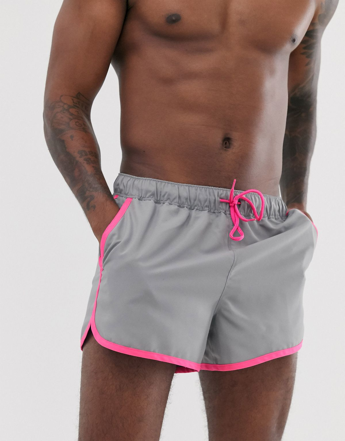 Grey and Pink Circuit Shorts