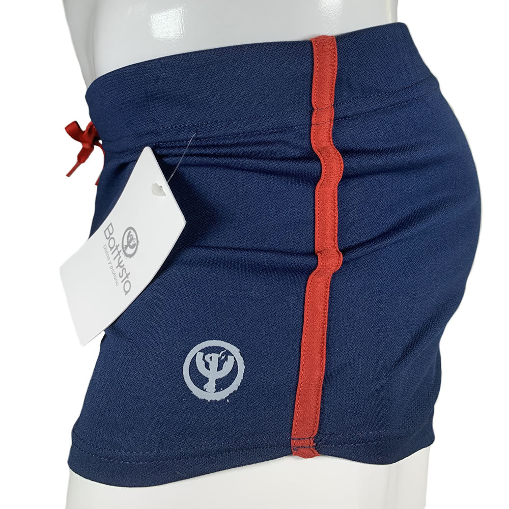 Dark Blue & Red Stretch Short Shorts