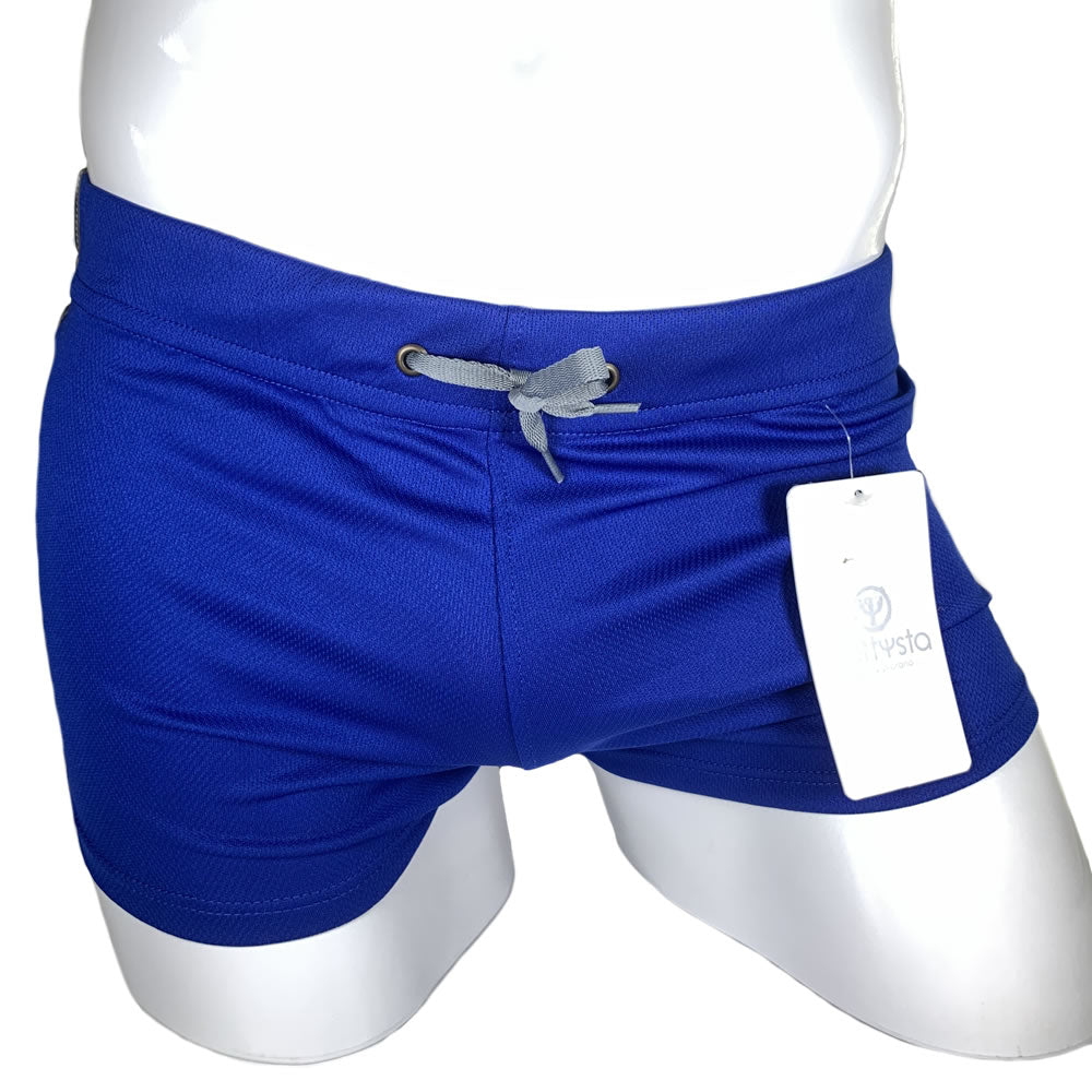 Blue and Grey Commando Stretch Short Shorts