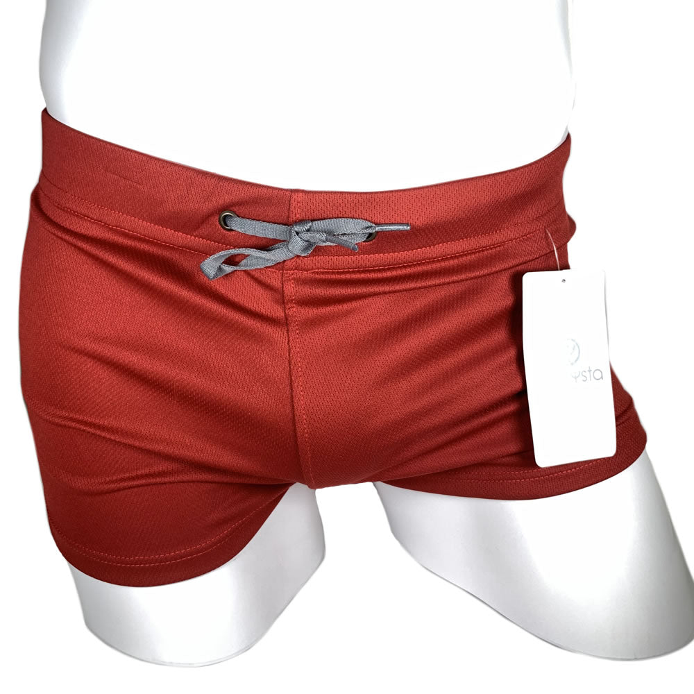 Red and Grey Stretch Short Shorts