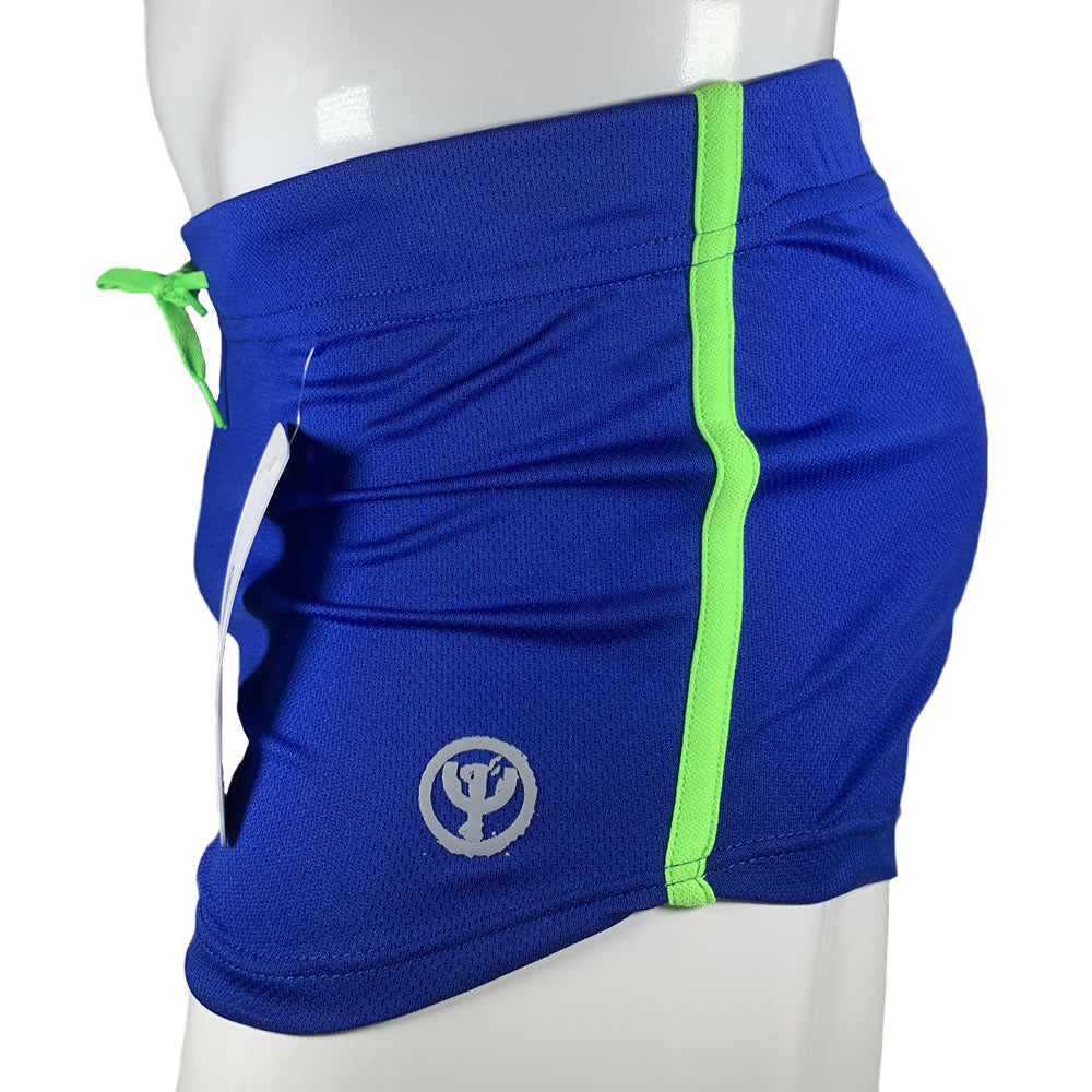 Blue & Neon Commando Stretch Short Shorts