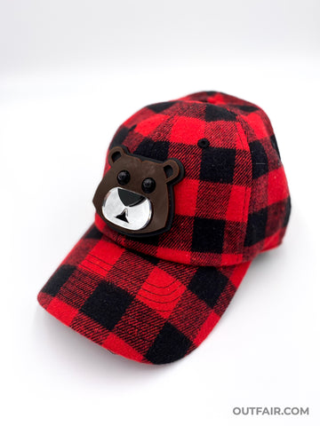 Red Plaid Bear Hat | ACCESSORIES | STRAPPING BOY NYC | OUTFAIR