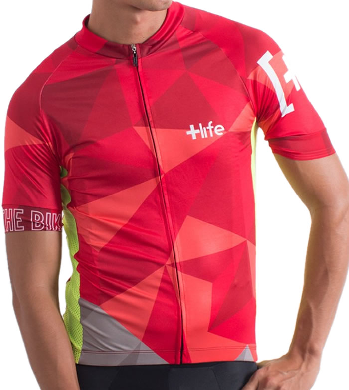 RED POLYGON - Mens Cycling Jersey