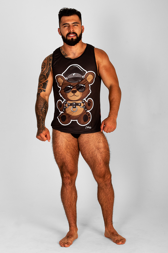 LEATHER TEDDY BEAR BLACK TANK TOP
