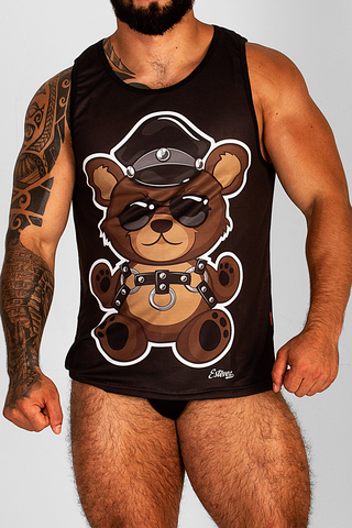 OUTFAIR LEATHER TEDDY BEAR BLACK TANK TOP |  TANK TOP | ESTEVEZ | OUTFAIR