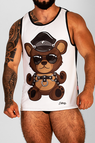 LEATHER TEDDY BEAR WHITE TANK TOP