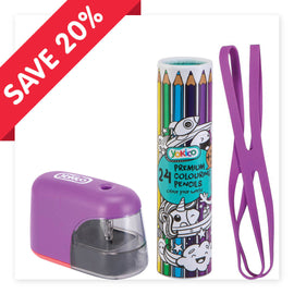 Purple Electric Sharpener & Pencils Gift Pack