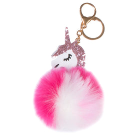 Pink Fluffy Unicorn Keychain