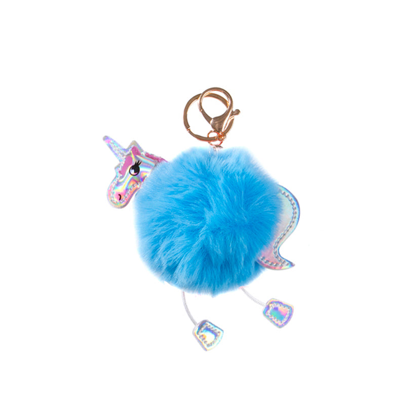 Fluffy Unicorn Keychain - Blue