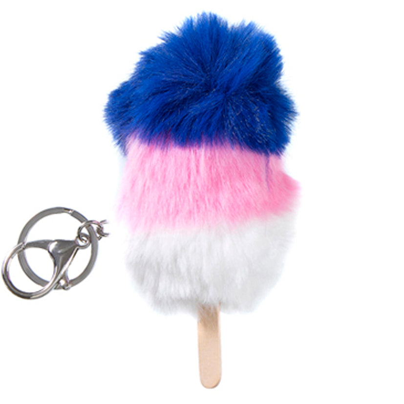Fluffy lolly Keychain - White