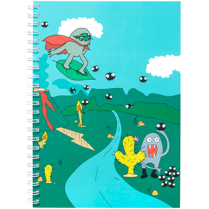Wiggly Woggly Green A4 Notebook