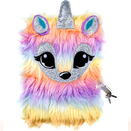 Unicorn Fluffy Lockable Journal