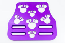"Load image into Gallery viewer, Mouse Head with Bow Universal Wheelchair Footplate 7"" x 6"" Front Bolt Fixed Violet"
